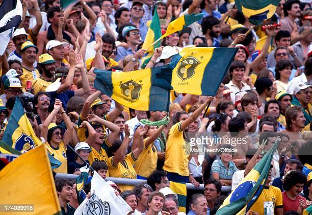 World Cup 1982 Spain Argentina v Brazil The Brazilian fans celebrate as they head to victory over rivals Argentina