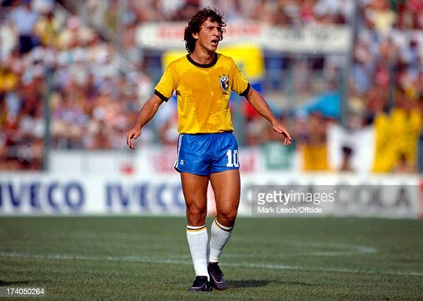 World Cup 1982 Spain Brazil v Italy An annoyed Zico stands frustrated in the penalty box