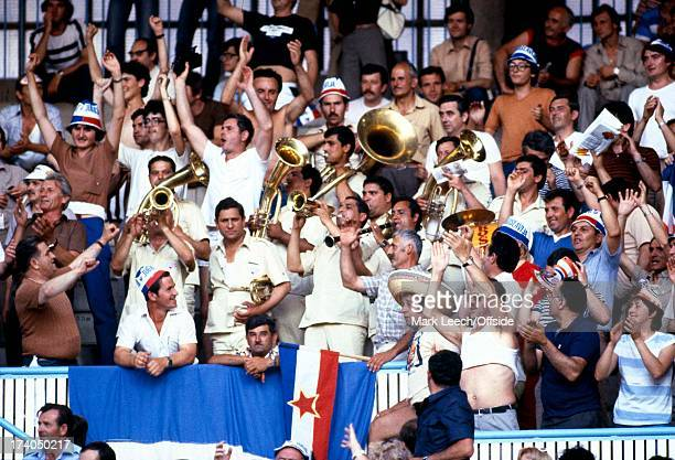 World Cup 1982 Spain Northern Ireland v Yugoslavia Yugoslav fans sing and play instruments in the stands