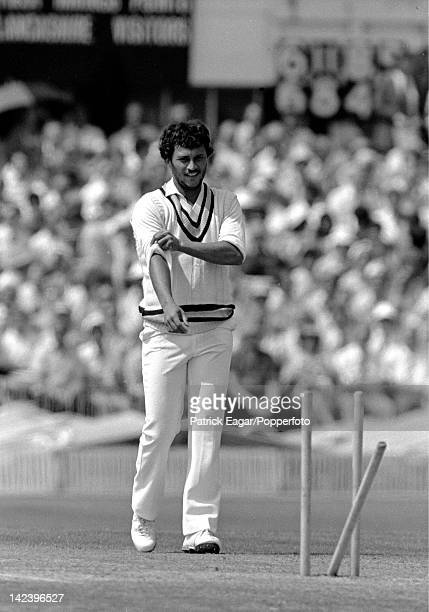 World Cup 1983 semi final England v India at Old Trafford Roger Binny after bowling Graeme Fowler 6336837