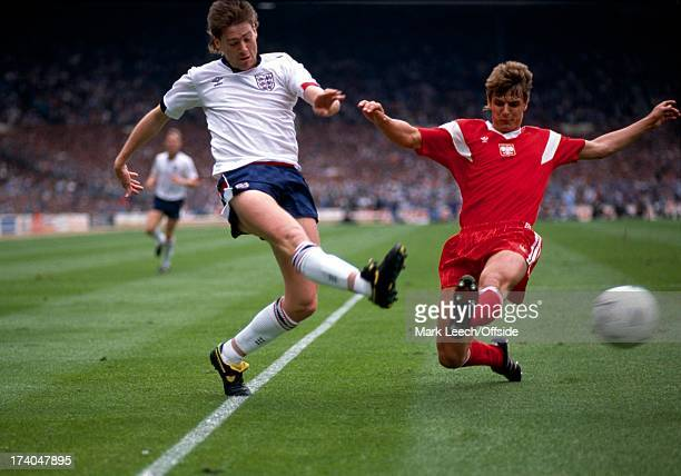 World Cup 1990 Qualifier England v Poland Wembley Chris Waddle crosses past the Polish defence