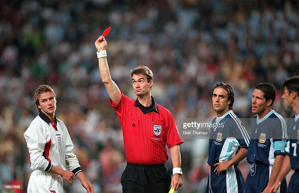 World Cup 1998 Finals, St, Etienne, France, 30th June, 1998, England 2 v Argentina 2 (Argentina win 4-3 on penalties), Referee Kim Milton Nielsen sends off England's David Beckham for kicking out at Diego Simeone