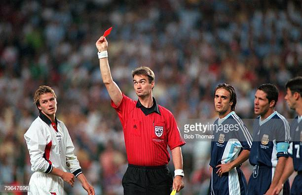 World Cup 1998 Finals St Etienne France 30th June England 2 v Argentina 2 Referee Kim Milton Nielsen sends off England's David Beckham for kicking...