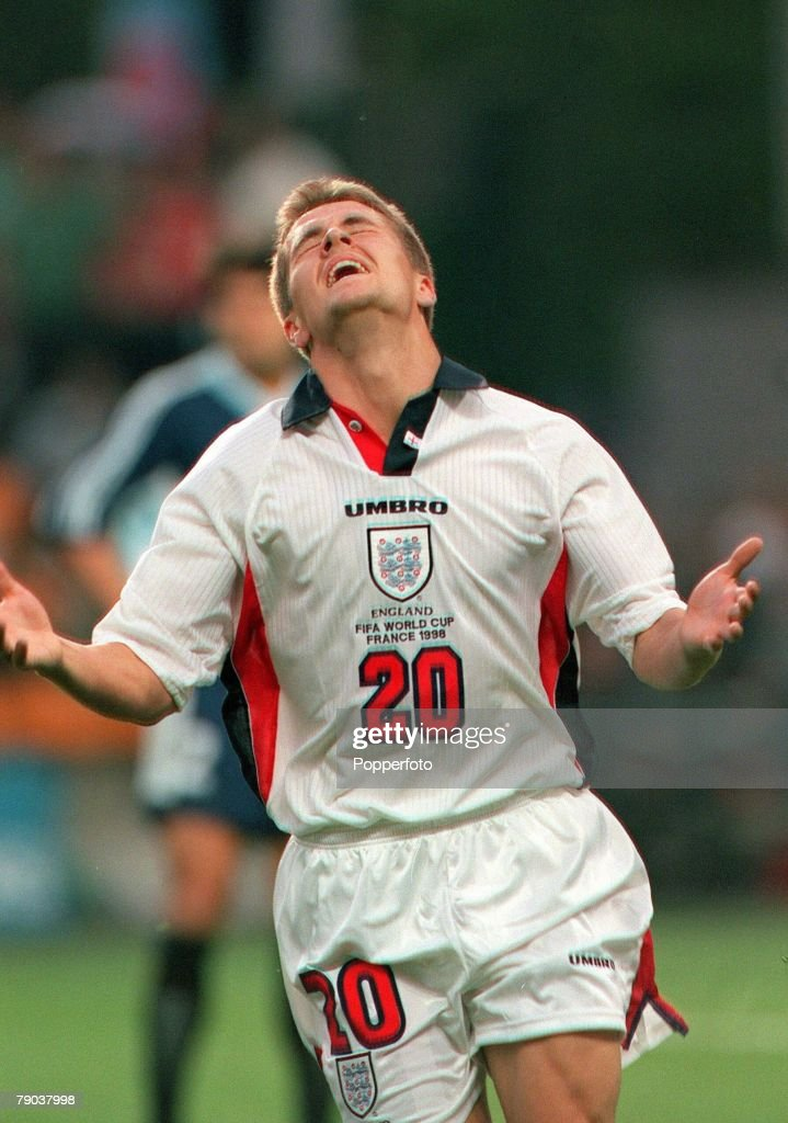 World Cup 1998 Finals, St, Etienne, France, 30th June, 1998, England 2 v Argentina 2 (Argentina win 4-3 on penalties), England's Michael Owen celebrates after scoring his individual goal
