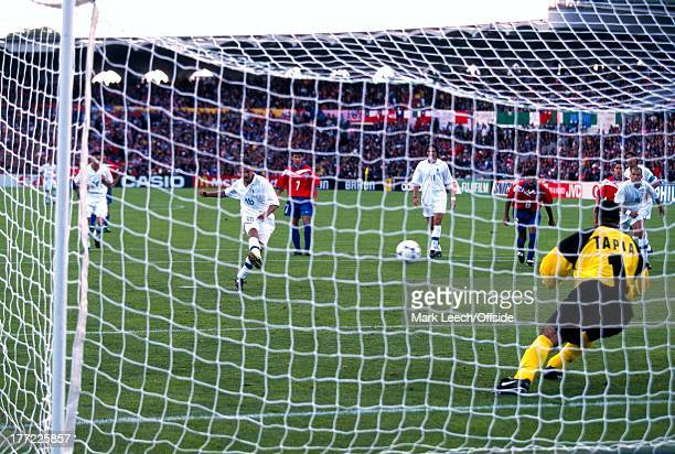 World Cup 1998 Italy v Chile Roberto Baggio slots his penalty past Tapia into the Chilean goal