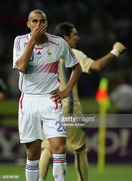 A dejected David Trezeguet of France after his penalty kick was saved by Gianluigi Buffon of Italy during the penalty shoot out