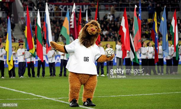 World Cup 2006 Mascot Goleo is seen before the benefit game Match Against Poverty between Ronaldo & Friends and Zidane & Friends at the LTU Arena on...