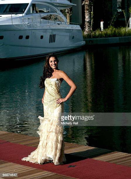 World Cup 2010 Miss World contestant Miss Gibraltar Kaiane Aldorino takes part in a photocall at the One and Only Hotel on December 3 2009 in Cape...