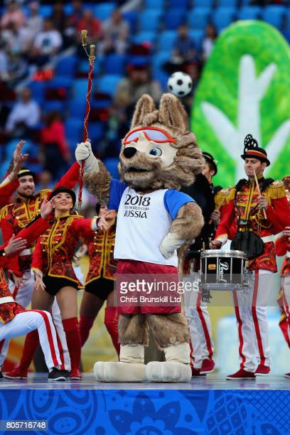 World Cup 2018 mascot Zabivaka at the ceremony before the FIFA Confederations Cup Russia 2017 Final match between Chile and Germany at Saint...