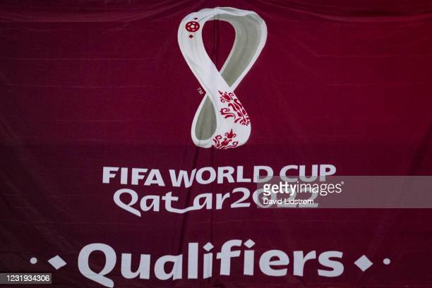 World Cup 2022 Qatar logotype is seen during the FIFA World Cup 2022 Qatar qualifying match between Sweden and Georgia on March 25, 2021 in...