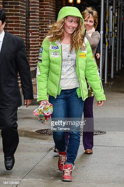 World Cup alpine ski racer Mikaela Shiffrin enters the Late Show With David Letterman taping at the Ed Sullivan Theater on March 19 2013 in New York...