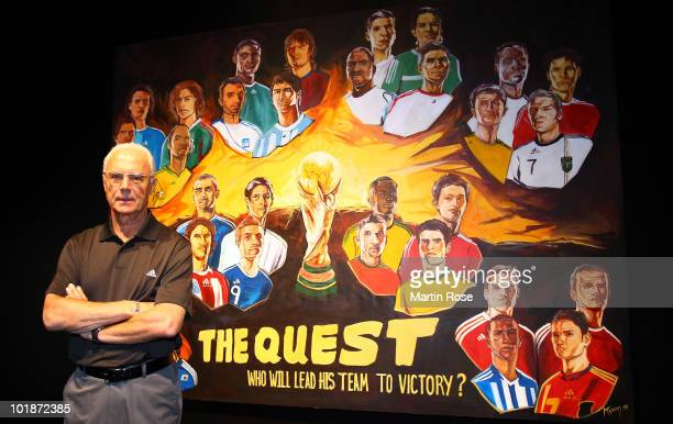 World Cup champion and footballing legend, Franz Beckenbauer of Germany, poses at the launch of the adidas Quest during the opening of Jo'bulani...
