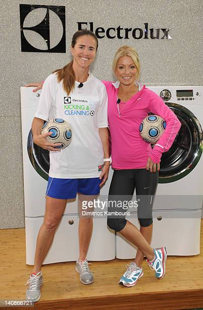 World Cup Champion Brandi Chastain and Kelly Ripa teamed up to host a soccer clinic to promote a real game changer in the laundry room the Electrolux...