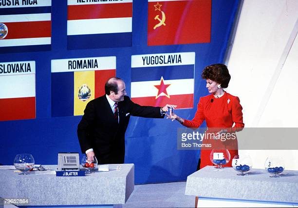 World Cup Draw Rome Italy 9th December Italian screen legend Sophia Loren helps FIFA secretary select the teams during the draw in the Palsaport Rome