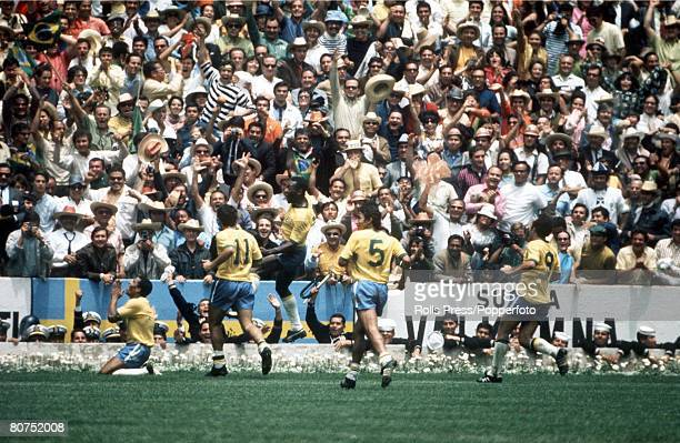 World Cup Final 1970 Mexico City Mexico 21st June Brazil 4 v Italy 1 Brazil's Jairzinho on his knees prays after scoring his team's third goal in the...
