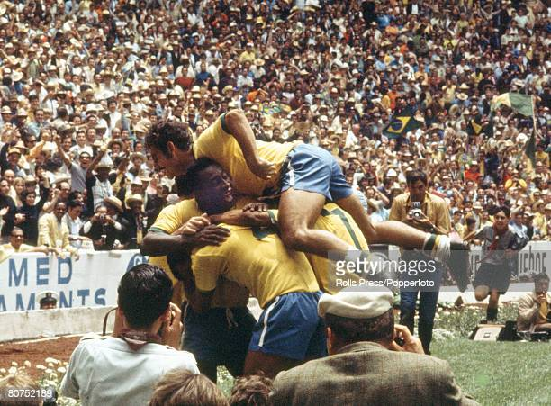 World Cup Final 1970 Mexico City Mexico 21st June Brazil 4 v Italy 1 Members of the Brazilian team in a frenzied huddle after scoring one of their...