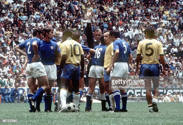 World Cup Final 1970 Mexico City Mexico 21st June Brazil 4 v Italy 1 Brazil's Pele takes the ball after Brazil were awarded a free kick by referee...