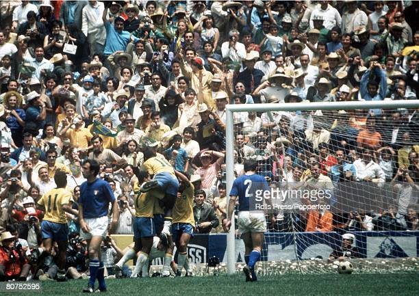 World Cup Final 1970 Mexico City Mexico 21st June Brazil 4 v Italy 1 Brazilian players celebrate after captain Carlos Alberto scored their fourth to...