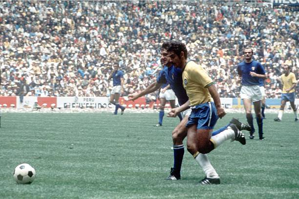 World Cup Final 1970, Mexico City, Mexico, 21st June Brazil 4 v Italy 1, Brazil's Rivelino battles for the ball with Italy's Mario Bertini during the...