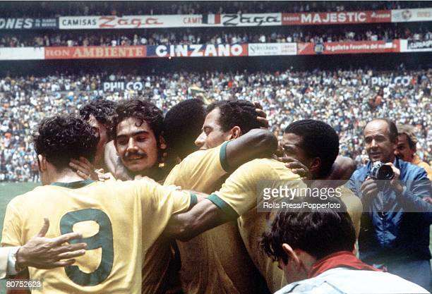 World Cup Final 1970 Mexico City Mexico 21st June Brazil 4 v Italy 1 Brazilian players celebrate after winning the World Cup by beating Italy four...