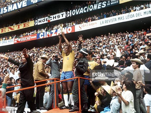 World Cup Final 1970 Mexico City Mexico 21st June Brazil 4 v Italy 1 Brazilian captain Carlos Alberto holds aloft the Jules Rimet World Cup trophy to...