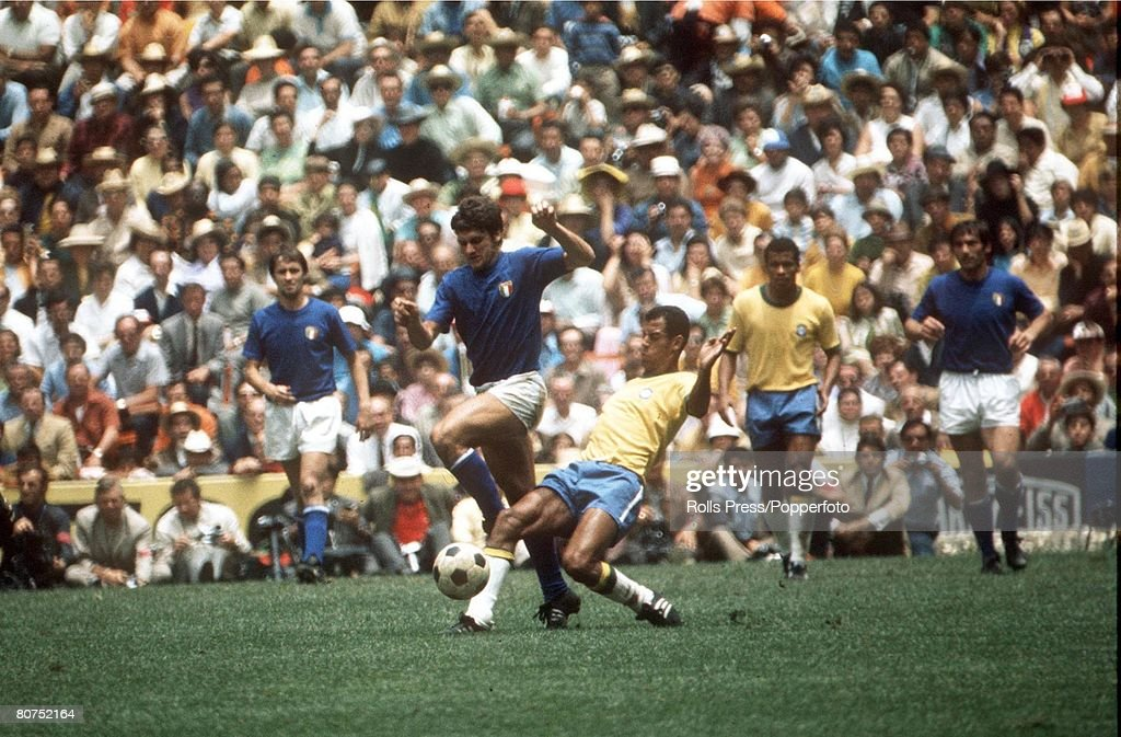 World Cup Final 1970 Mexico City, Mexico. Brazil 4 v Italy 1. 21st June, 1970. Brazilian captain Carlos Alberto in action against Italian players during the World Cup Final at the Azteca Stadium. : News Photo