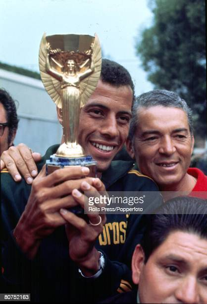 World Cup Final 1970, Mexico City, Mexico, Brazilian Captain Carlos Alberto holds aloft the Jules Rimet Trophy following his side's win over Italy in...