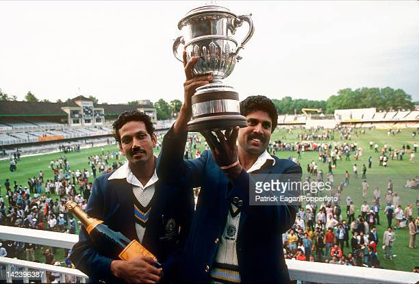 World Cup Final 1983 Kapil Dev Mohinder Amarnath with the World Cup E835550