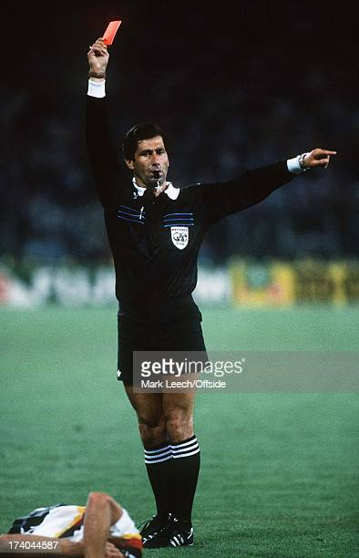 World Cup Final 1990 Argentina v West Germany Referee Cosedal shows an Argentinian player the red card