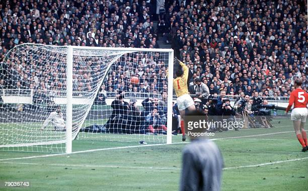 World Cup Final 30th July Wembley Stadium England England 4 v West Germany 2 England goalkeeper Gordon Banks shepherds the ball wide of his goal...