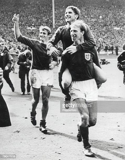 World Cup Final 30th July Wembley Stadium England England 4 v West Germany 2 England's Alan Ball is carried on the shoulders of teammate Jack...