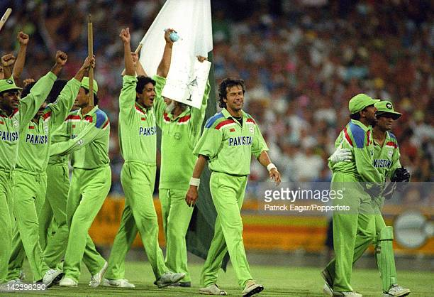 World Cup Final at Melbourne 1992 Pakistan beat England Imran Khan and members of the Pakistan team at the moment of victory having bowled England...