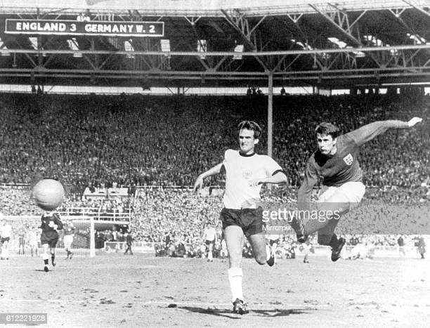 World Cup Final at Wembley Stadium England 4 v West Germany 2 after extra time Geoff Hurst fires in England's fourth goal in the dying seconds of...