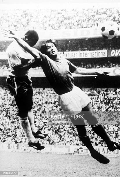 World Cup Final Azteca Stadium Mexico 21st June Brazil 4 v Italy 1 Brazil's Pele outjumps an Italian defender to head home his side's first goal of...