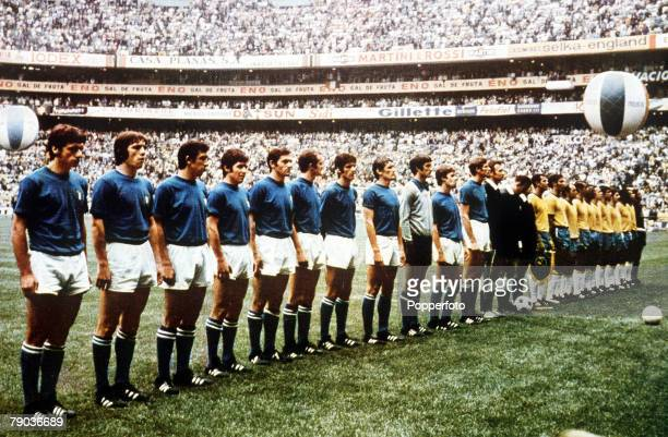 World Cup Final Azteca Stadium Mexico 21st June Brazil 4 v Italy 1 The two teams line up before the match