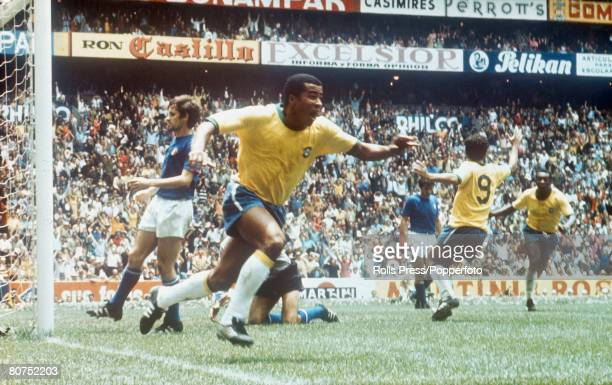 World Cup Final Azteca Stadium Mexico 21st June Brazil 4 v Italy 1 Brazil's Jairzinho celebrates after walking the ball into the net for his side's...
