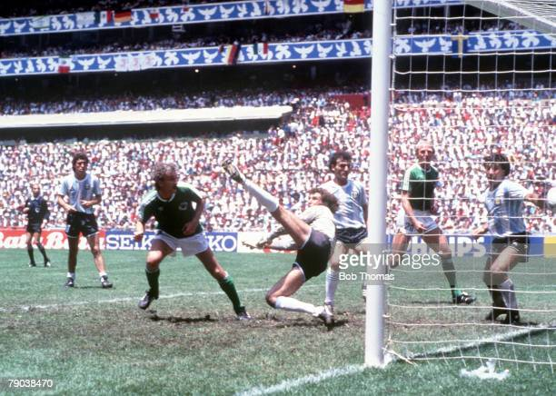 World Cup Final Azteca Stadium Mexico 29th June Argentina 3 v West Germany 2 West Germany's Rudi Voeller scores his side's equalising goal past...