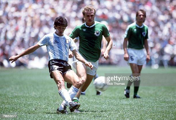 World Cup Final Azteca Stadium Mexico 29th June Argentina 3 v West Germany 2 Argentina's Jorge Burrachaga plays the ball watched by West Germany's...