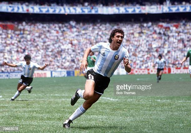 World Cup Final Azteca Stadium Mexico 29th June Argentina 3 v West Germany 2 Argentina's Jorge Valdano celebrates after scoring the second goal