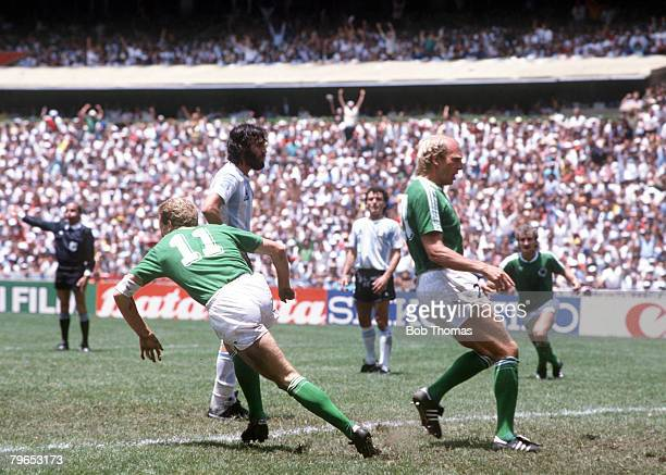 World Cup Final Azteca Stadium Mexico 29th June Argentina 3 v West Germany 2 West Germany's Karl Heinz Rummenigge turns away to celebrate after...