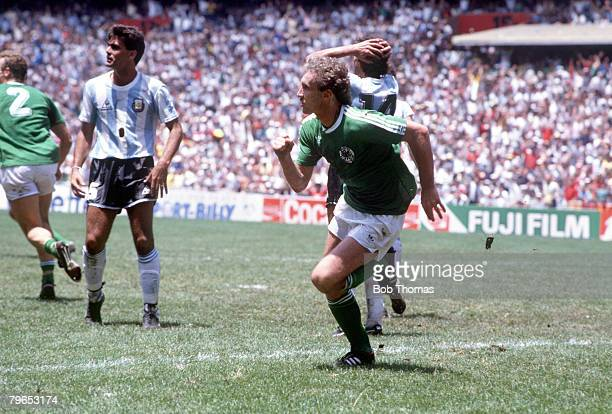 World Cup Final Azteca Stadium Mexico 29th June Argentina 3 v West Germany 2 West Germany's Rudi Voeller races away to celebrate after scoring their...