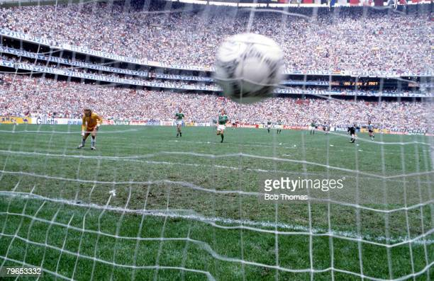 World Cup Final Azteca Stadium Mexico 29th June Argentina 3 v West Germany 2 West German goalkeeper Harald Schumacher looks on as the ball settles in...