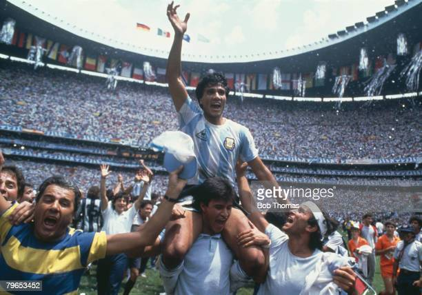 World Cup Final Azteca Stadium Mexico 29th June Argentina 3 v West Germany 2 Argentina's Hector Enrique enjoys the victory celebrations at the end of...