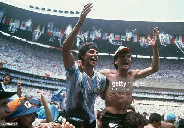 World Cup Final Azteca Stadium Mexico 29th June Argentina 3 v West Germany 2 Argentina's Ricardo Giusti and Jose Cuciuffo celebrate at the end as...