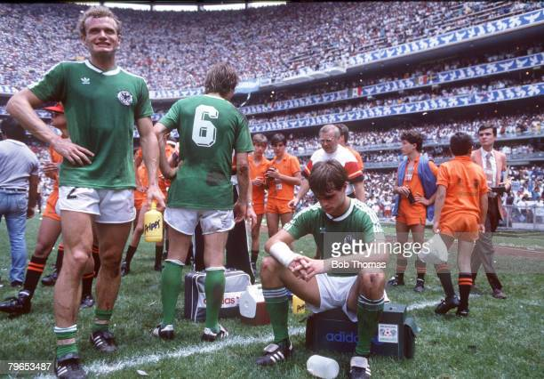 World Cup Final Azteca Stadium Mexico 29th June Argentina 3 v West Germany 2 West Germany's Hans Peter Briegel and Thomas Berthold dejected at the...