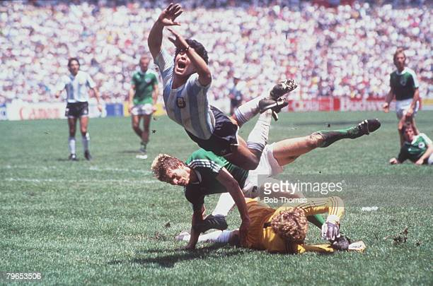 World Cup Final, Azteca Stadium, Mexico, 29th June Argentina 3 v West Germany 2, Argentina's Diego Maradona goes flying over the challenges of West...