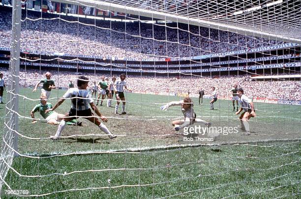 World Cup Final Azteca Stadium Mexico 29th June Argentina 3 v West Germany 2 West Germany's Karl Heinz Rummenigge scores West Germany's first goal...