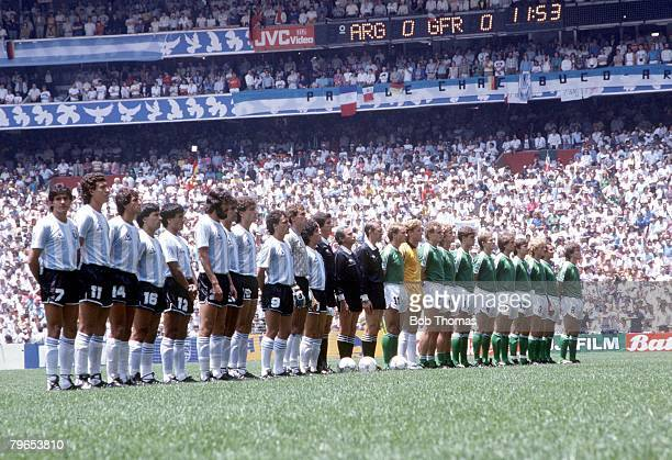 World Cup Final Azteca Stadium Mexico 29th June Argentina 3 v West Germany 2 The two teams line up with the officials before the match