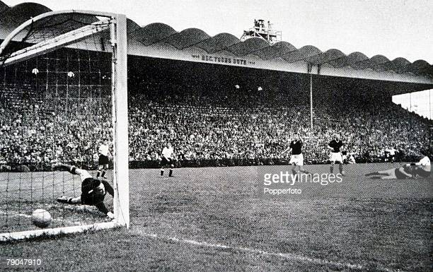 World Cup Final Berne Switzerland 4th July West Germany 3 v Hungary 2 Hungary's goalkeeper Gyula Grosics is beaten as West German Helmut Rahn has...
