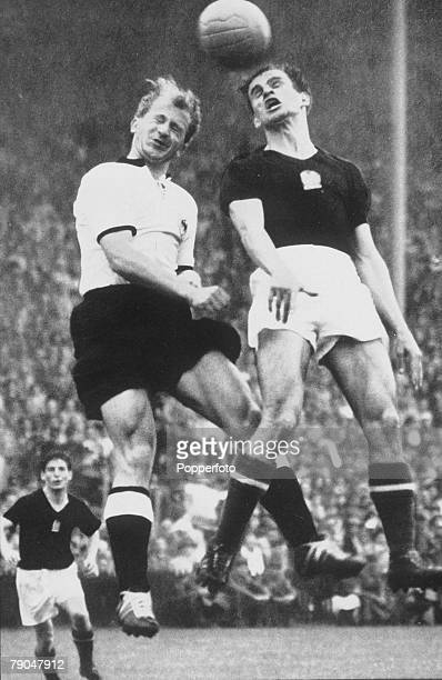 World Cup Final Berne Switzerland 4th July West Germany 3 v Hungary 2 Hungary's Zoltan Czibor jumps for the ball with West German defender Werner...